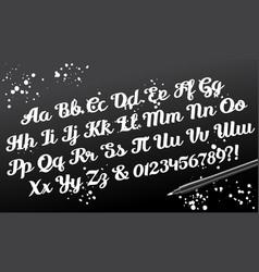 hand drawn brushpen calligraphic alphabet vector image vector image