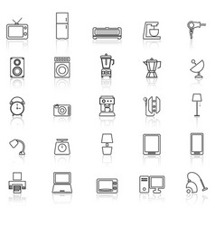 Household line icons with reflect on white vector