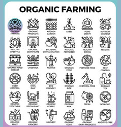 organic farming concept detailed line icons vector image vector image