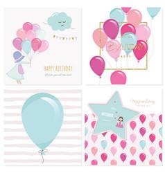 cartoon birthday card templates for girls vector image