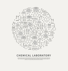 circle poster chemical lab vector image