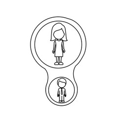 monochrome contour schematic with mom and son vector image vector image