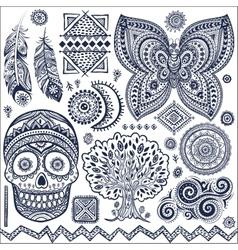 Set of ornamental tribal elements and symbols vector image vector image