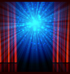 stage spotlights and red open curtains theatrical vector image