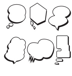 blank template comic text speech bubble set vector image vector image