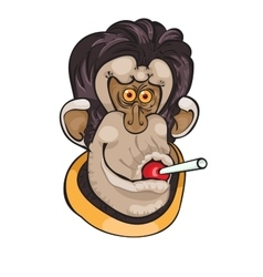 Cute monkey with candy on a dot background vector