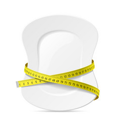 plate with measuring tape diet theme vector image vector image