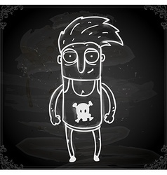 Punk Rocker Dude Drawing on Chalk Board vector image