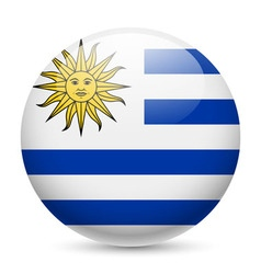 Round glossy icon of uruguay vector image vector image