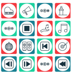 set of 16 audio icons includes song ui octave vector image vector image