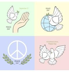 Set symbols with a white dove vector