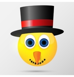 Snowman emoticon emoji smiley vector image