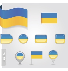 The Ukrainian flag - set of icons and flags vector image vector image
