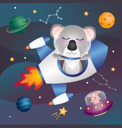 A cute koala in space galaxy vector