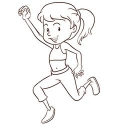A plain sketch of a girl dancing vector