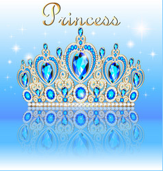 A shiny crown tiara with precious stones and the vector