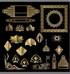 Art deco art nuevo geometric elements frames vector