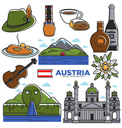 Austria tourism travel landmarks and famous vector