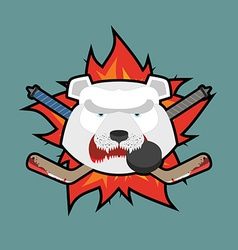 Bear Hockey Logo vector image