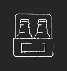 Beer-to-go chalk white icon on black background vector