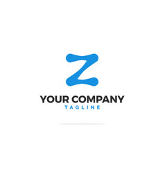 blue logo letter z tech vector image