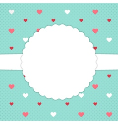 Blue template card with red and white hearts vector image vector image