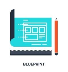 Blueprint flat concept vector