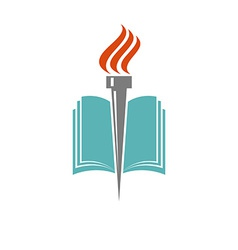 Book and torch education or library logo vector