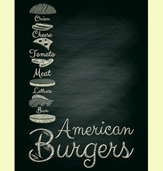 Burger Menu Poster on Chalkboard vector