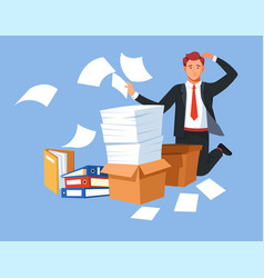 Business paperwork man in stress overload folders vector