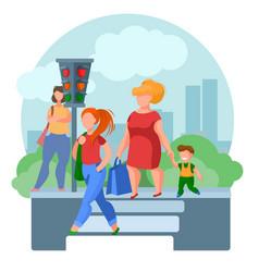 cartoon color characters people pedestrians vector image