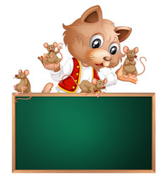 cat and mouse on chalkboard vector image