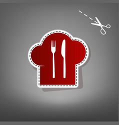 Chef hat and spoon fork knife sign red vector