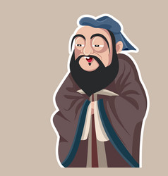 chinese philosopher confucius caricature vector image