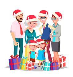 Christmas family full family portrait vector