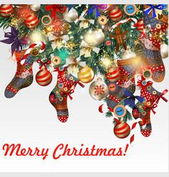christmas fur tree socks candy bows bottons vector image