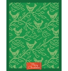 Christmas greeting card with knitted birds vector