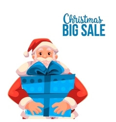 Christmas sale banner with cartoon Santa Claus vector image