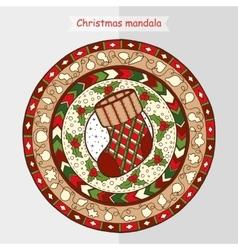 Christmas sock on ethnic mandala vector image
