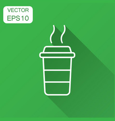 Coffee cup icon with long shadow business concept vector
