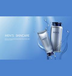 Cosmetics for men shaving cream lotion vector