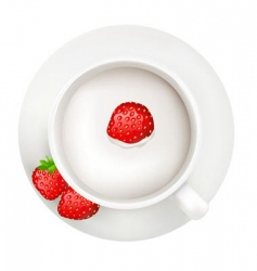 cup with milk and strawberry vector image