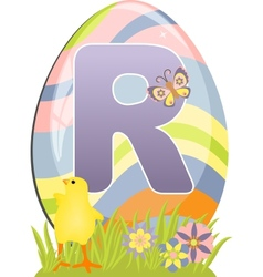 Cute initial letter R vector