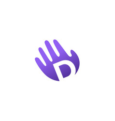 d letter hand palm hello logo icon vector image