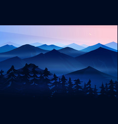 Dark blue mountains layered landscape and pastel vector