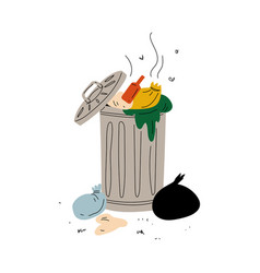 dumpster full decaying rubbish waste vector image