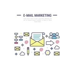 E-mail marketing signs template in outline vector image vector image
