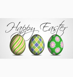 Easter greeting card - three colored eggs vector image