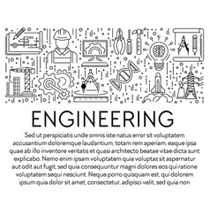 engineering banner template with graphic linear vector image