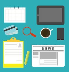 Equipment on the desks of business vector image
